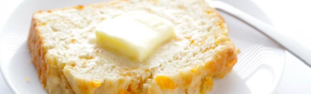 Sliced Garlic Cheddar Beer Bread