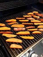 Sweet potato fries on a grill
