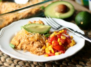 Plated Chicken Enchilada Casserole with Corn Salsa