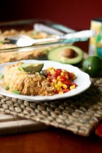Plated Chicken Enchilada Casserole with Corn Salsa