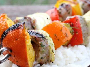 Caribbean Pork Kabobs and Coconut Rice