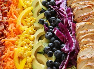 Ingredients for Grilled Chicken Rainbow Cobb Salad