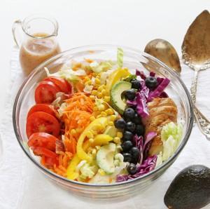 Grilled Chicken Rainbow Cobb Salad in Bowl