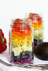 Grilled Chicken Rainbow Cobb Salad in Mason Jar