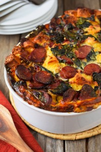 Turkey Kielbasa and Baby Kale Strata