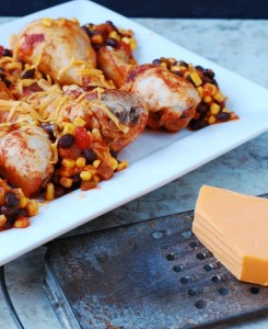 Plated Tex Mex Chicken Leg Bake with Corn and Black Beans