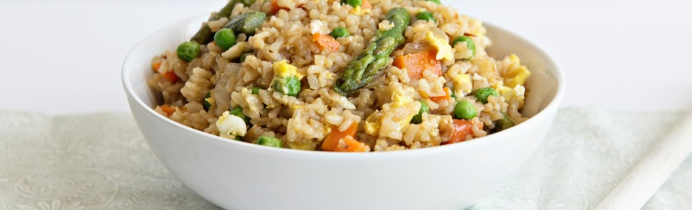 Spring Veggie Fried Rice in a Bowl