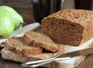 Sliced whole wheat quick bread loaf