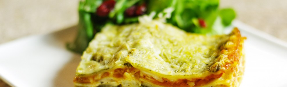 Butternut squash and pesto lasagna