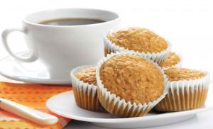 Gluten free orange breakfast muffins and coffee cup