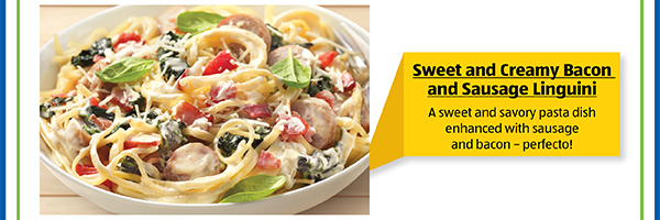 Sweet and Creamy Bacon and Sausage Linguini