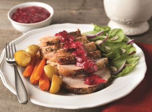 Grilled Turkey Breast with Cranberry-Honey Mustard Pan Sauce