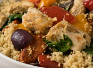 Grilled Chicken with Roasted Vegetables and Whole Wheat Couscous in Bowl