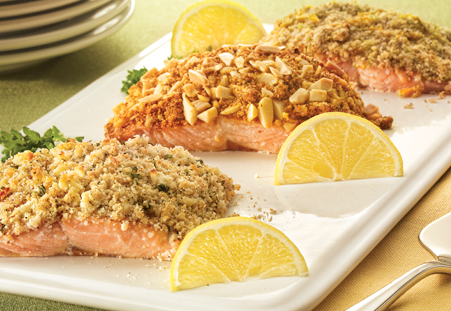 Crusted Salmon with lemon slices