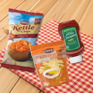 ALDI Sriracha Kettle Chips, Jalapeño Ketchup and Focaccia Sticks