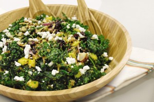 Citrus kale salad in salad bowl