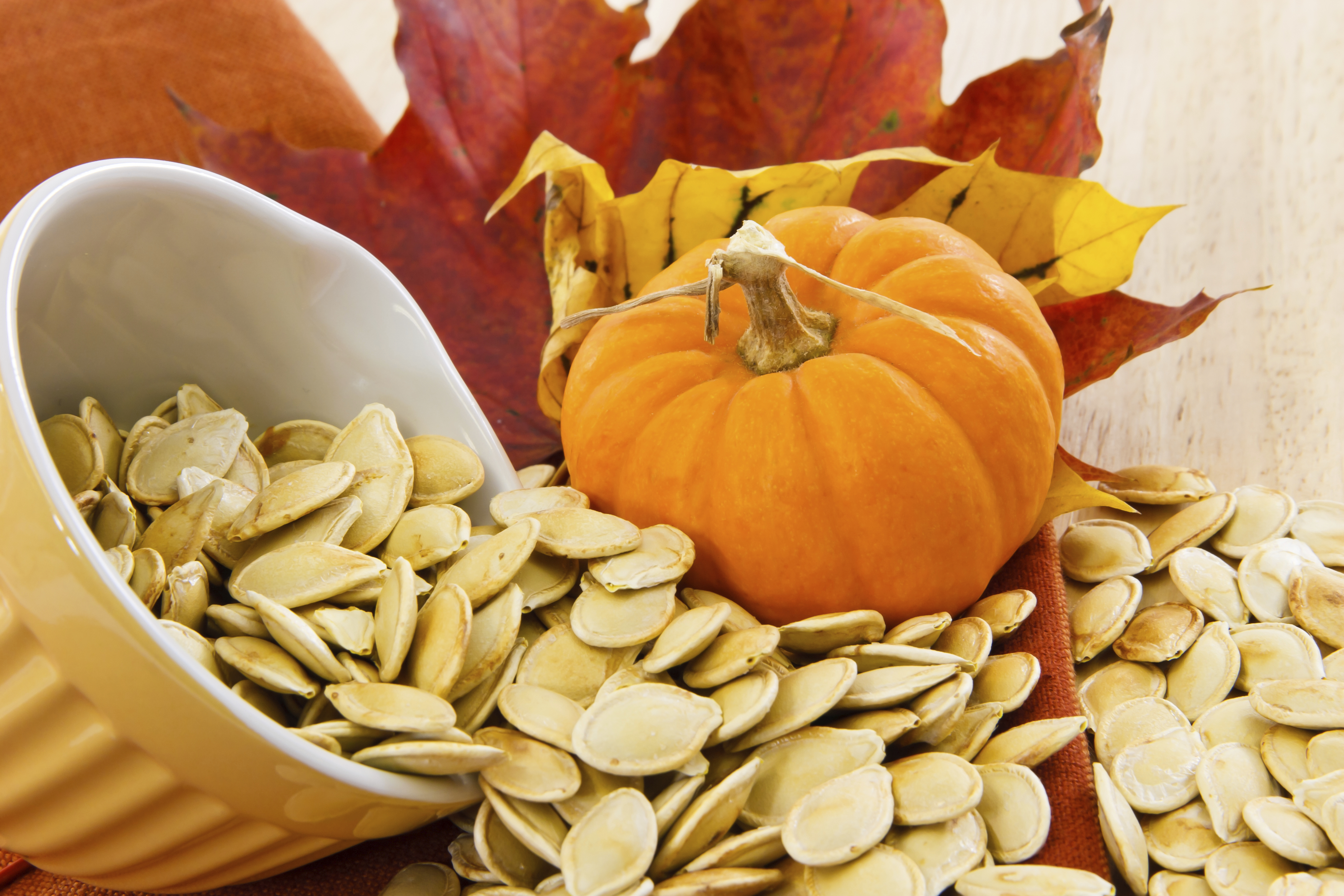 Small pumpkin with pumpkin seeds spilling out of bowl