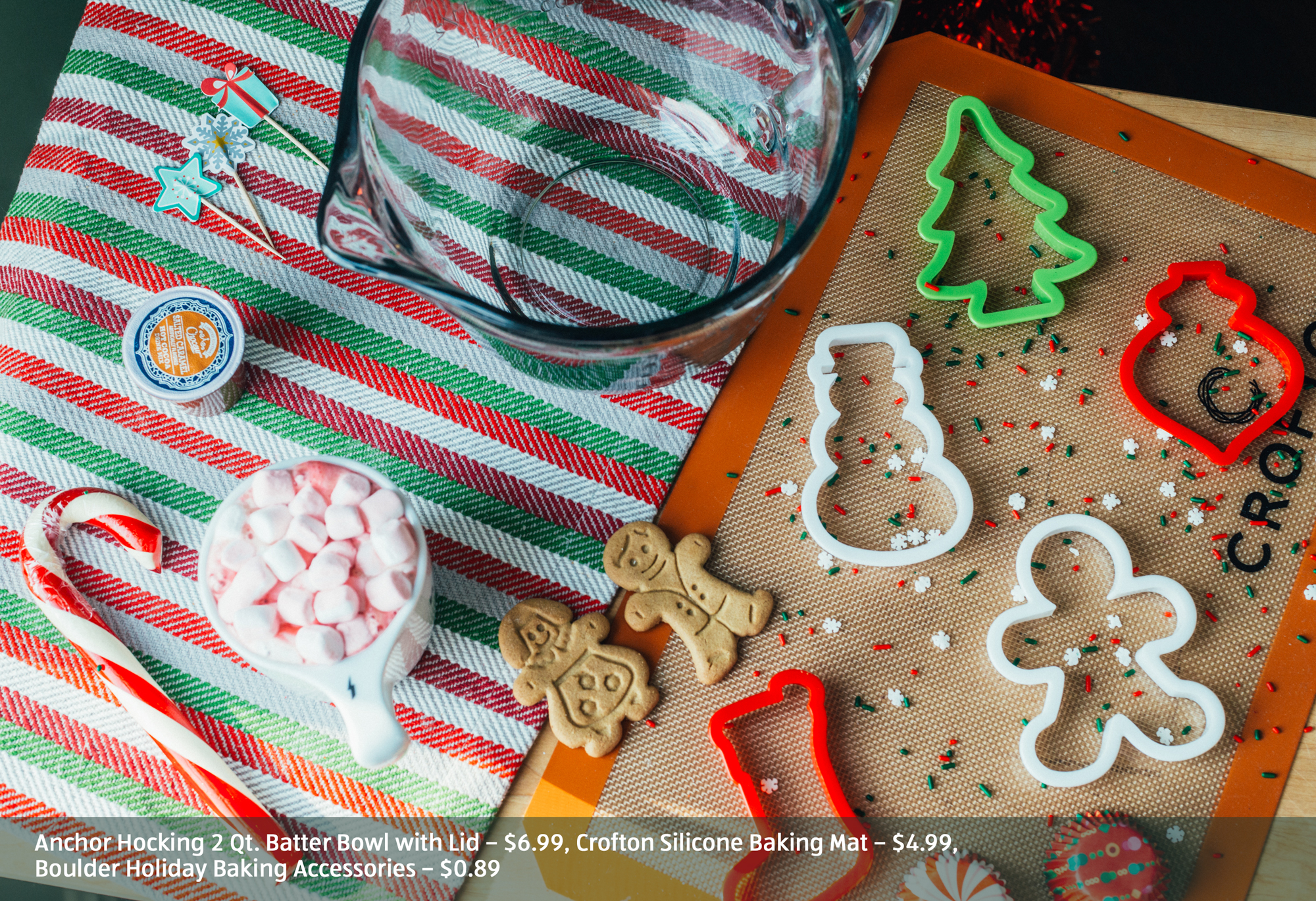 Holiday cookie themed baking items and cookies