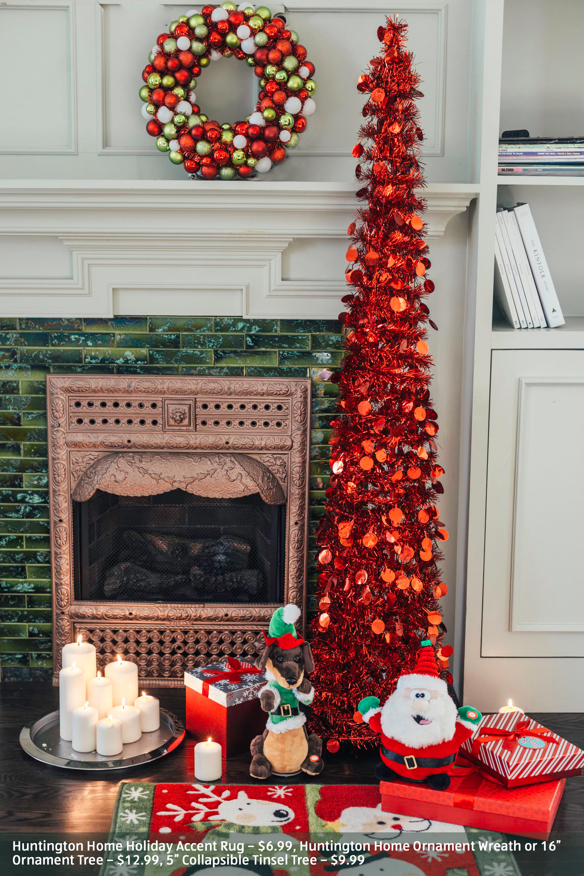 Christmas themed decorations around the fireplace.