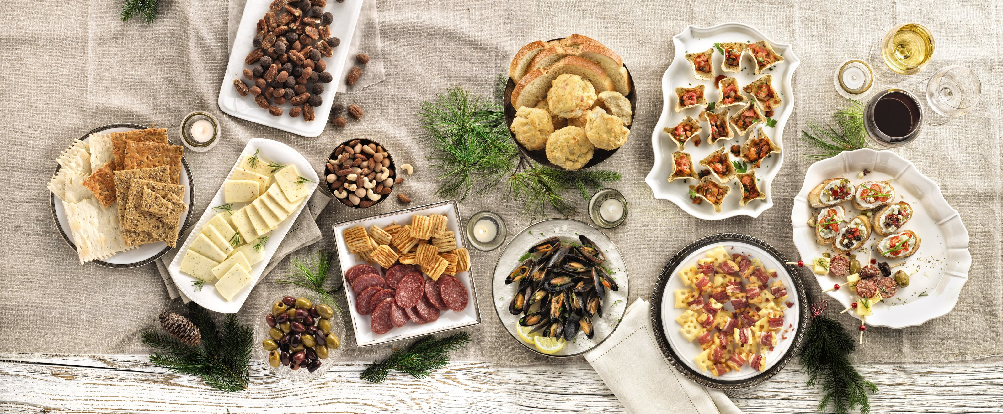 Various appetizers on a decorated table.