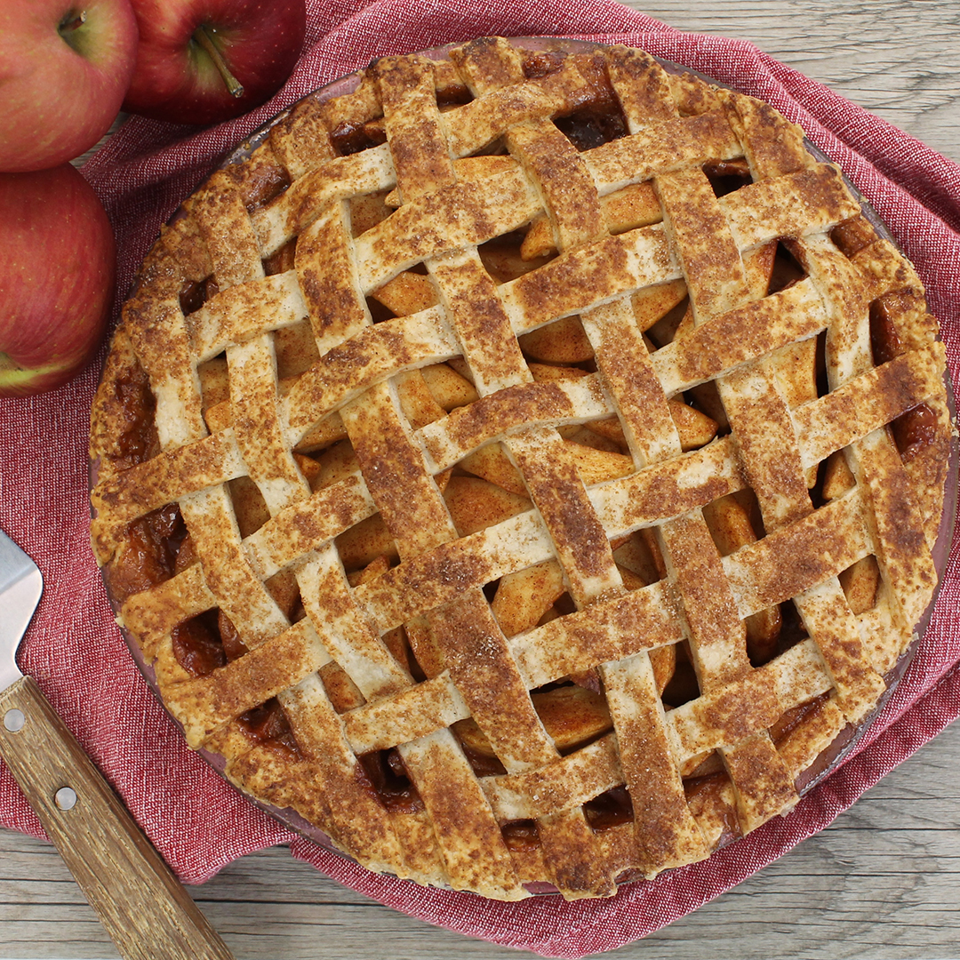 Apple pie with a lattice top crust.