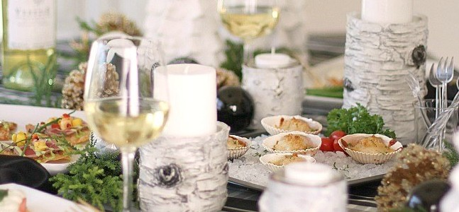 Beautiful tablescape featuring a gourmet holiday meal.