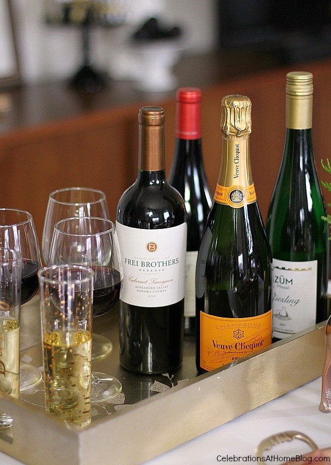 A variety of wines and champagne.
