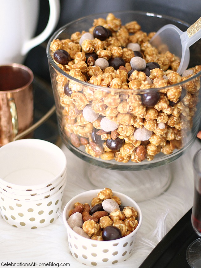 Caramel corn with chocolate covered fruits and chai spiced nuts.