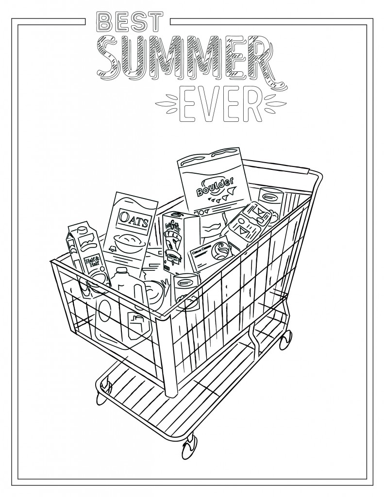 Printable coloring sheet featuring a shopping cart with groceries.