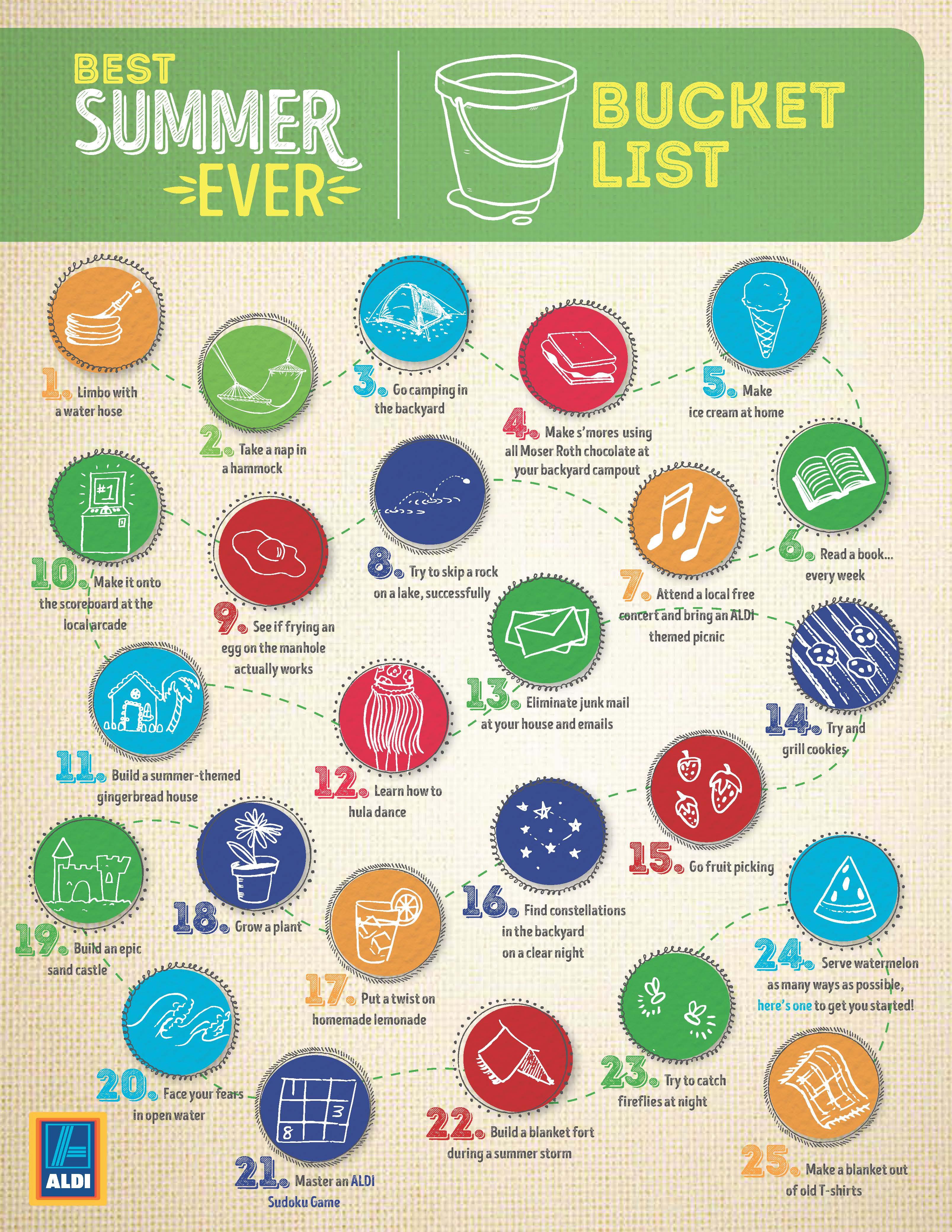 Printable summer bucket list.