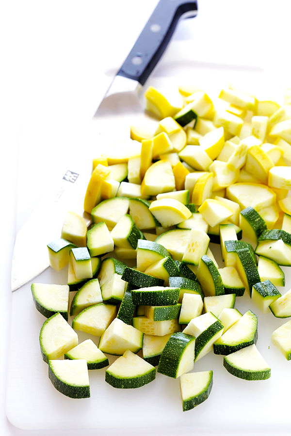 Chopped zucchini and yellow squash.