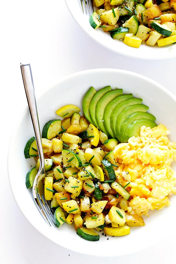Zucchini breakfast hash with scrambled eggs and avocado.