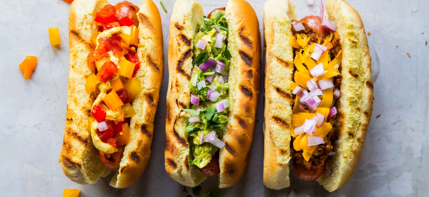 Hot dogs with unique homemade toppings.