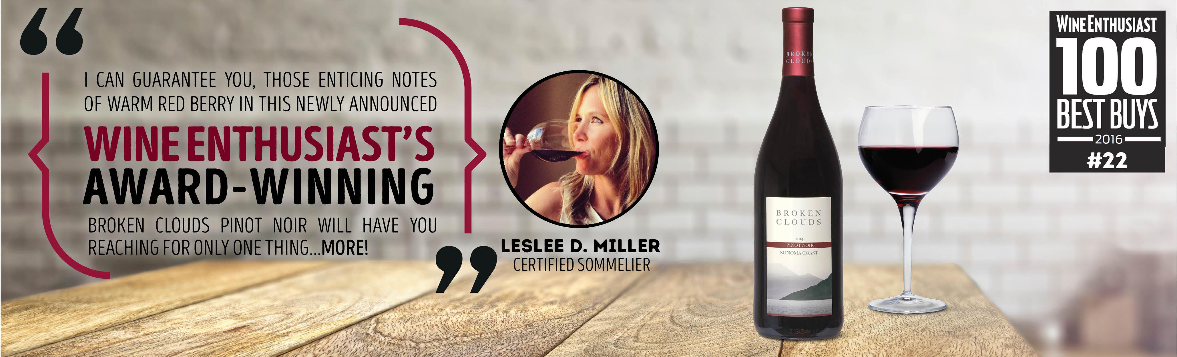 Sommelier Leslee Miller and Broken Cloud Pinot Noir recommendation.