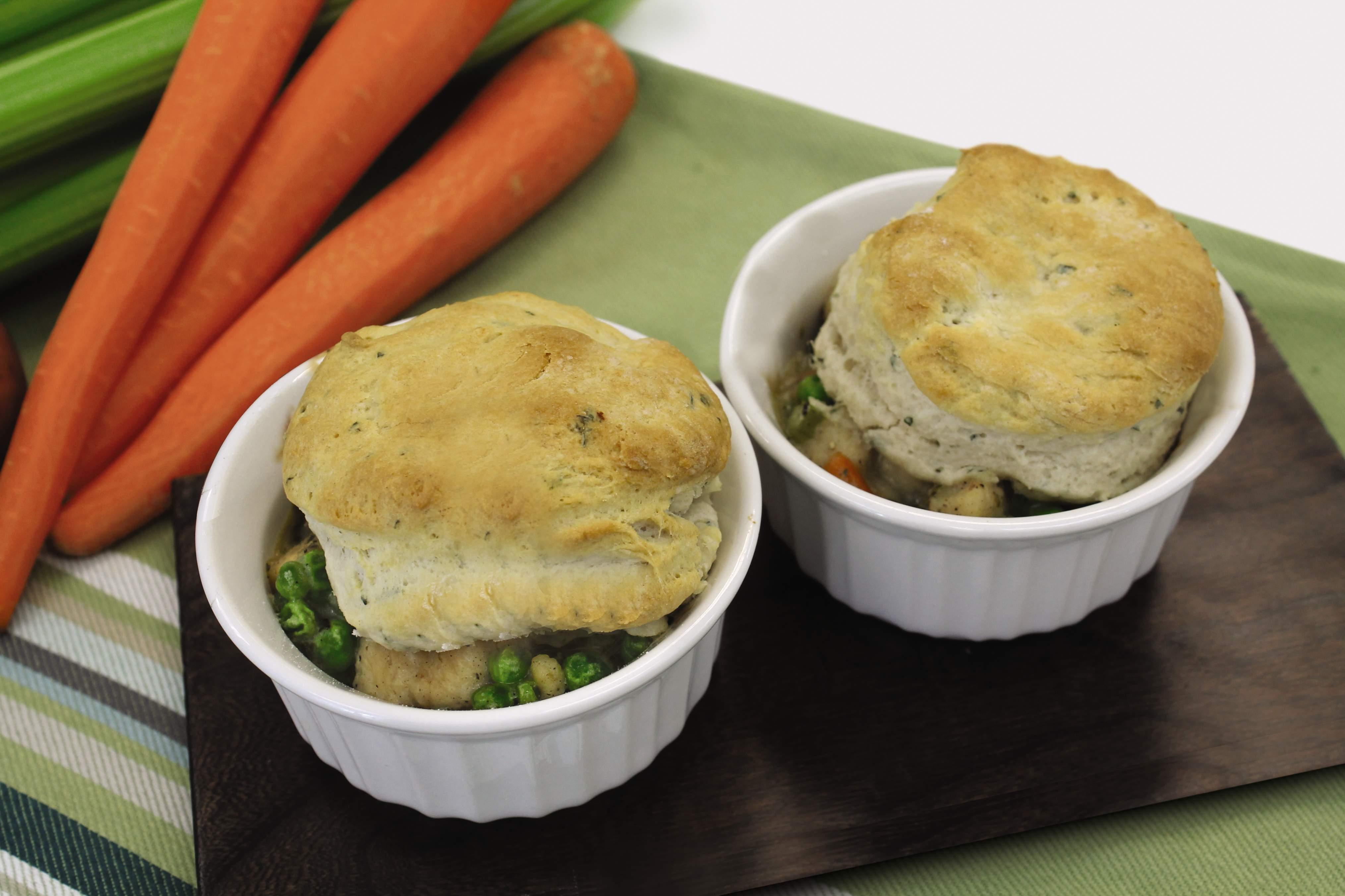 Dairy free chicken pot pie with herb biscuits.