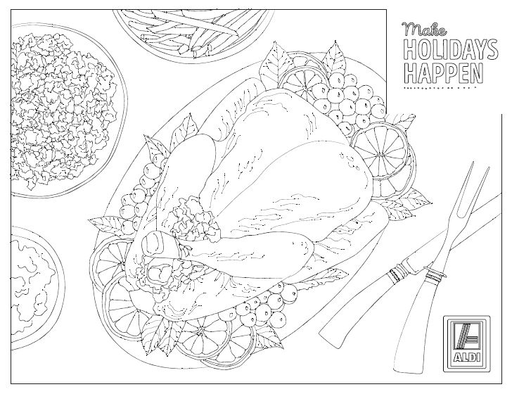 Printable coloring sheet with Thanksgiving turkey and sides.