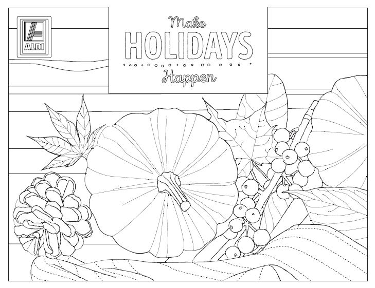 Printable coloring sheet with pumpkin and fall foliage.