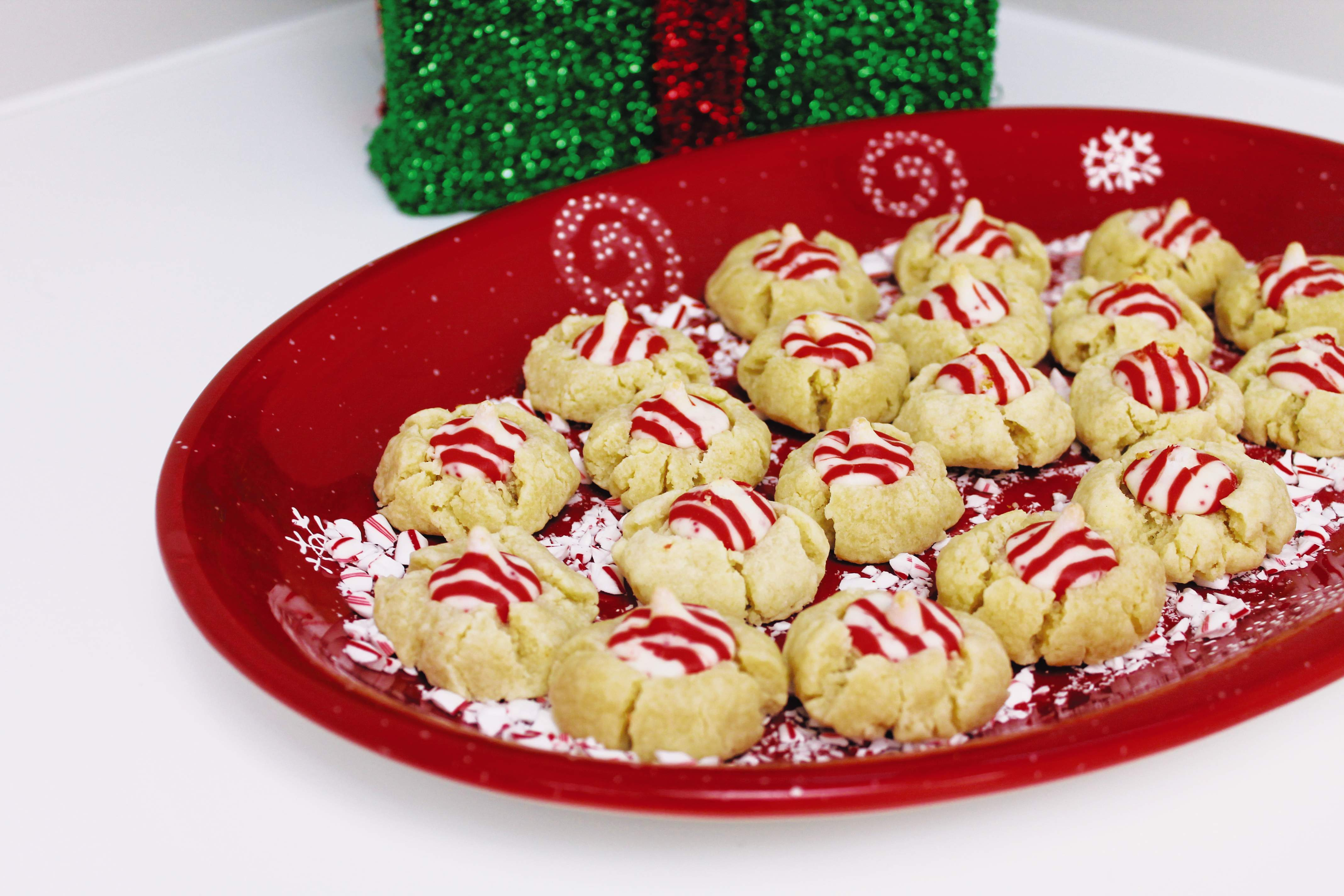 Christmas cookies with Hershey Kiss center.