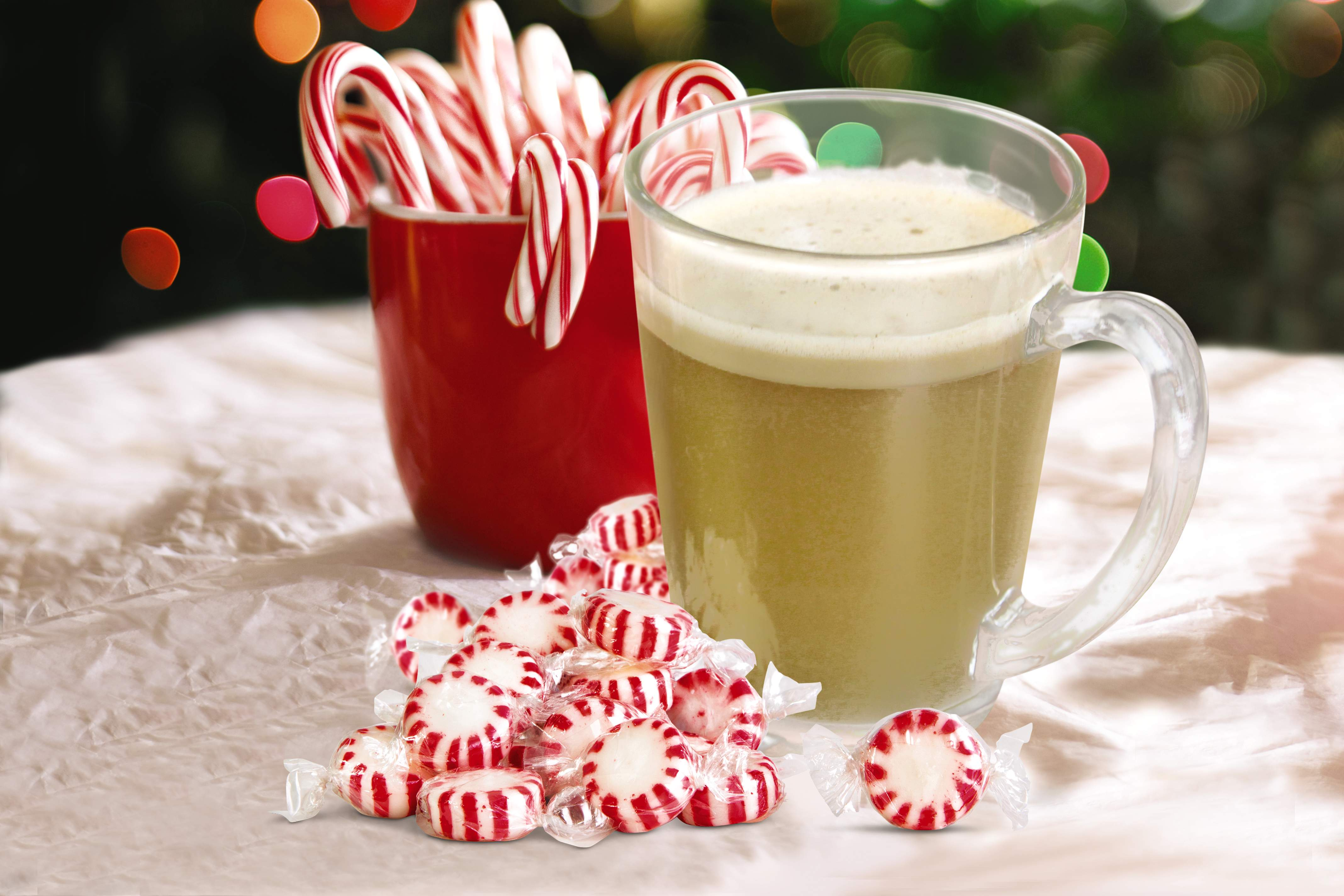 Buttered Peppermint Rum with peppermint candies. View recipe.