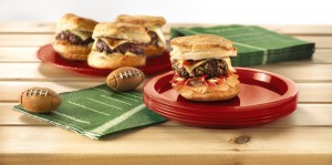 Game day sliders with green touchdown napkins.