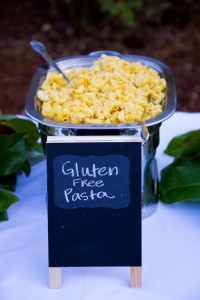 A serving dish full of gluten free pasta.