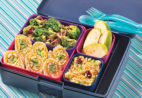A Bento Box Sammie with broccoli and apple sides.