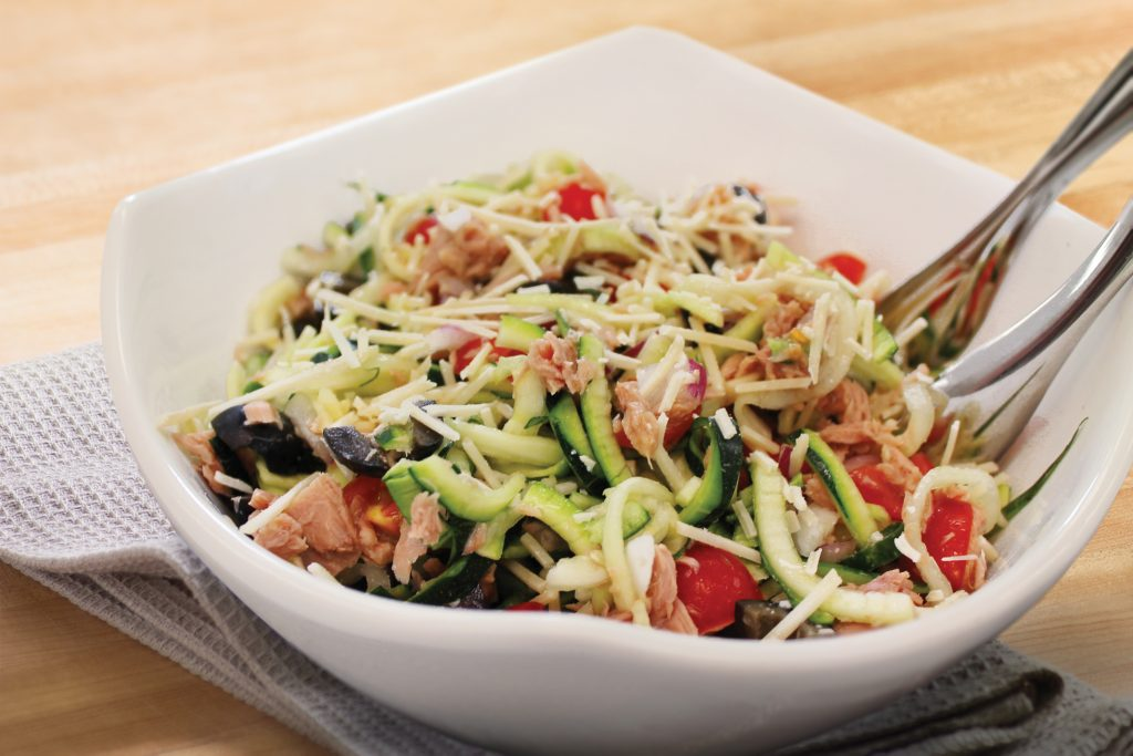 A bowl full of Tuna Zoodle Salad ready to be served.