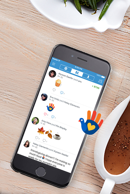A cell phone with the Venmo app and the Turkey Hand Friendsgiving icon.