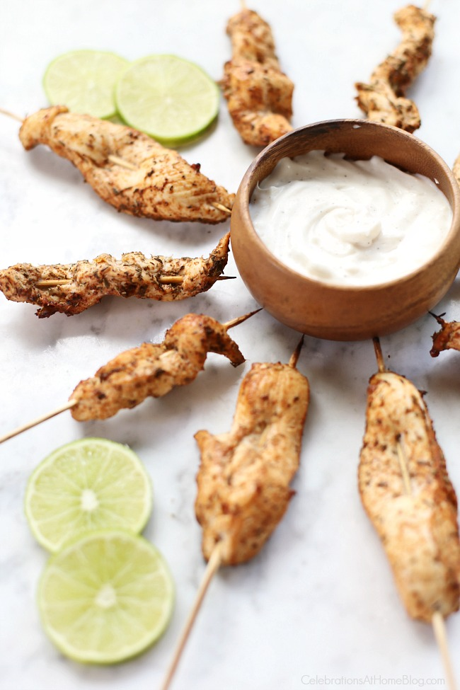 Jerk Seasoned Chicken Skewers with a garlic & herb dipping sauce.