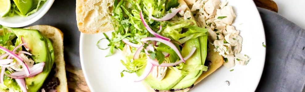 Veggie sandwich with avocado.