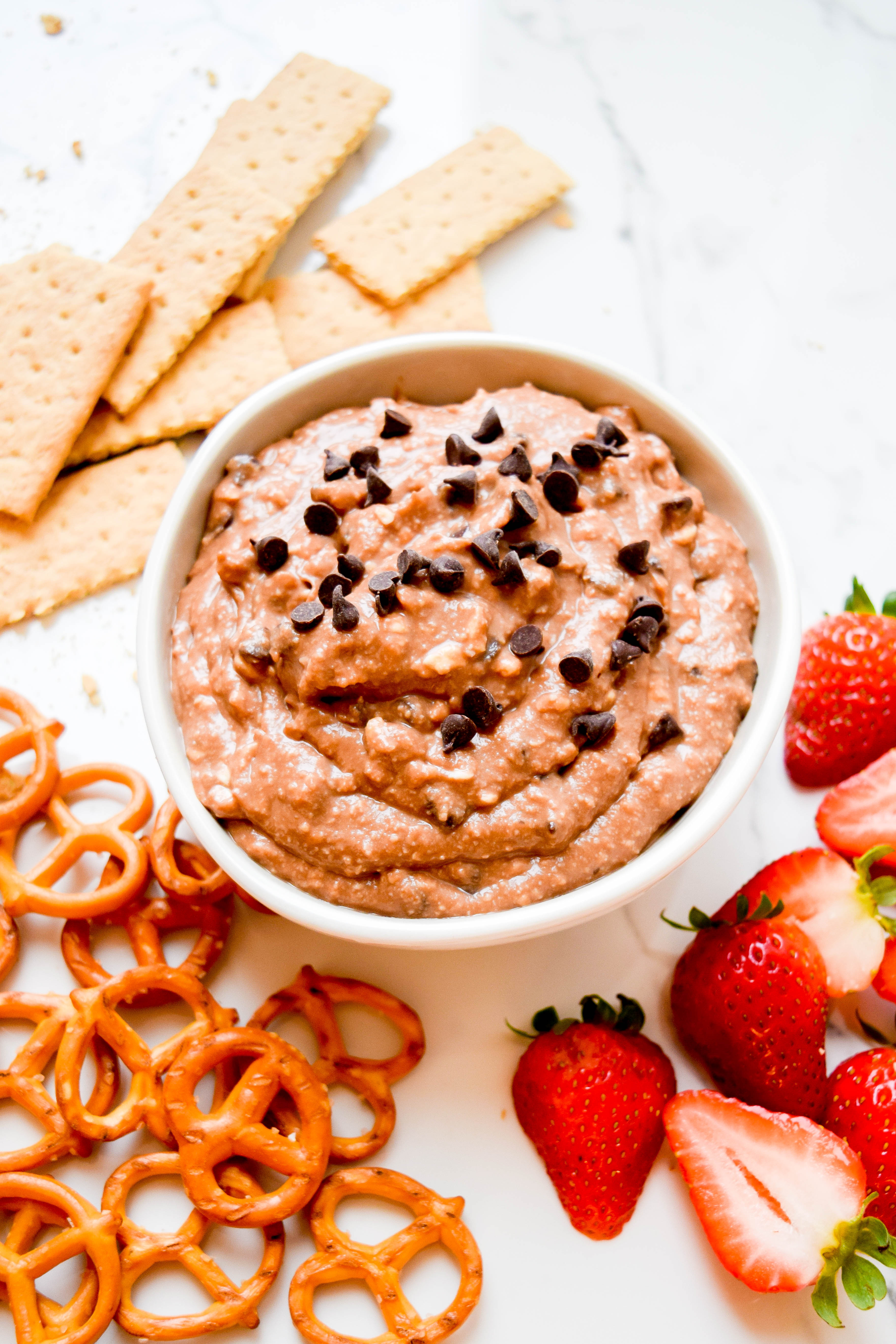 Hazelnut Cannoli Dip and strawberries, pretzels and graham crackers for dipping.