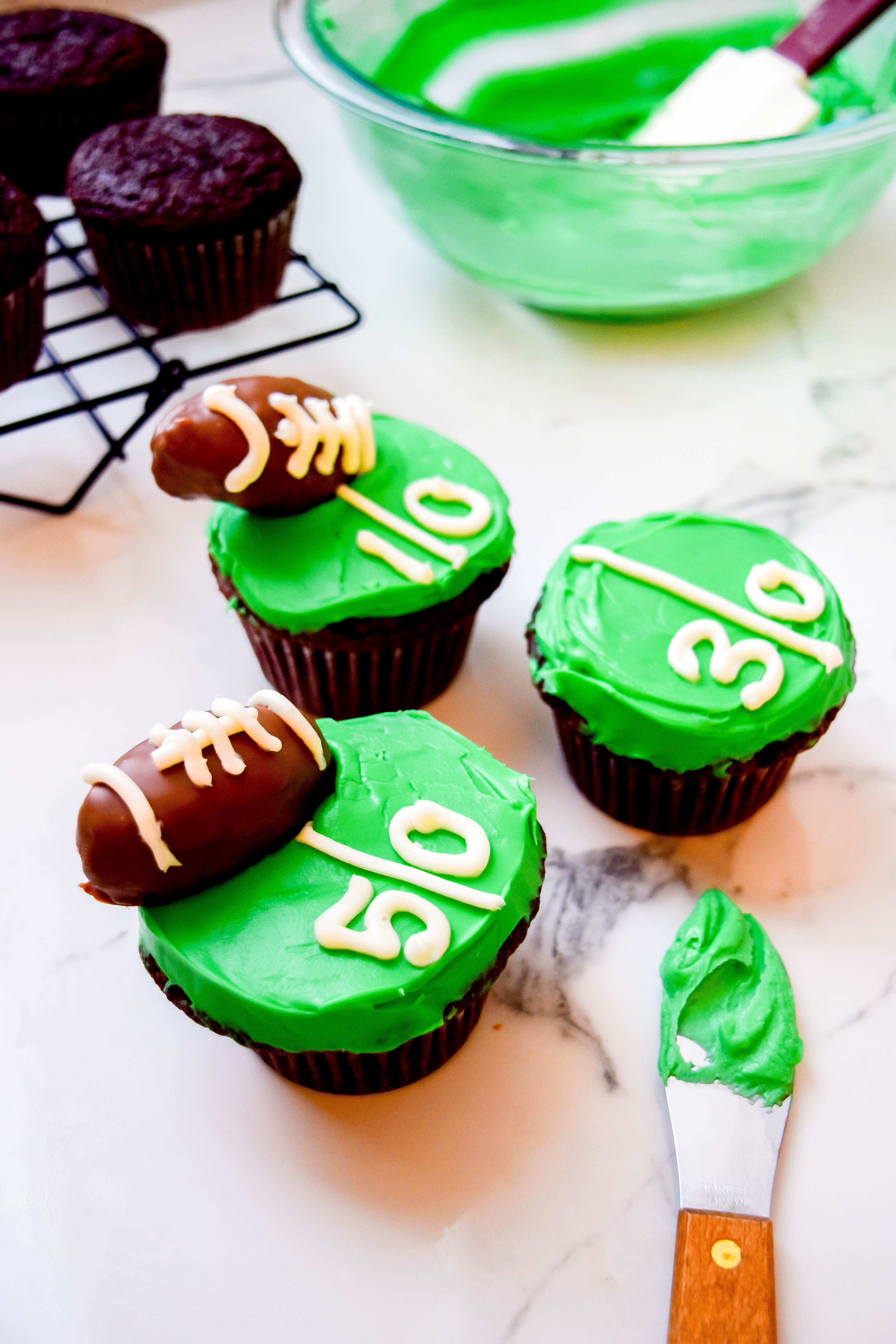 Game Day Cupcakes with football decorations.