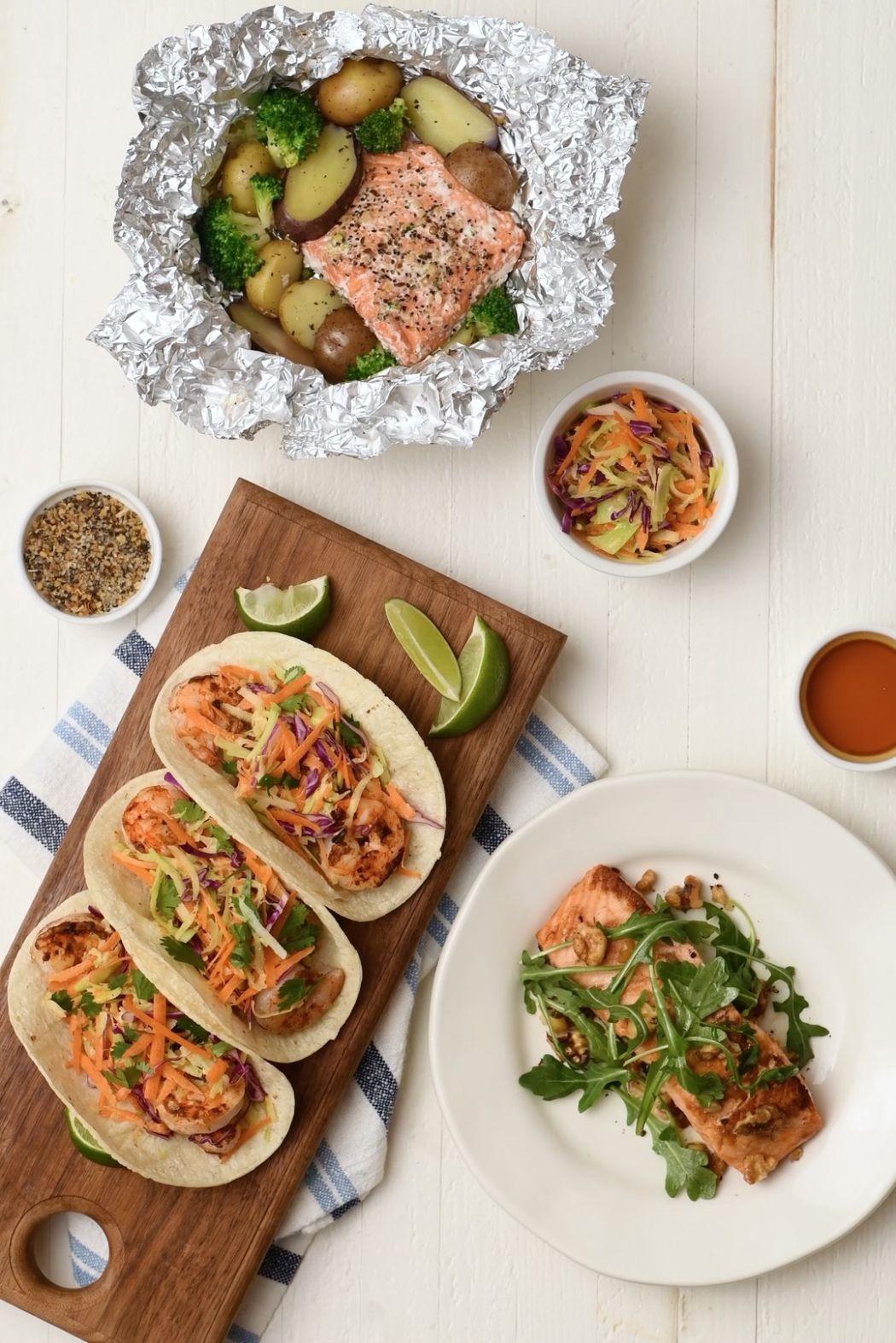 Crusty salmon and shrimp tacos.