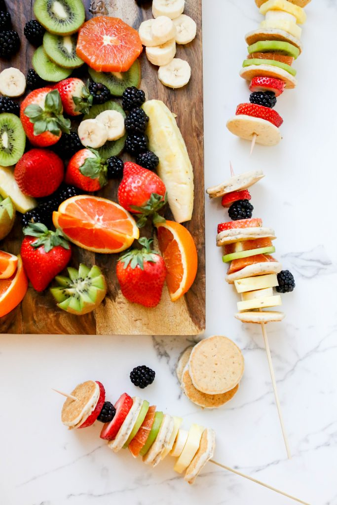 Colorful Pancake Skewers with mini pancakes and fruit.